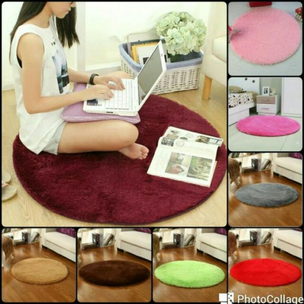 Beli Tjincollection Karpet Bulu Bundar Rasfur Busa Polos Berkualitas Diameter 150Cm Multicolour Tjincollection Asli